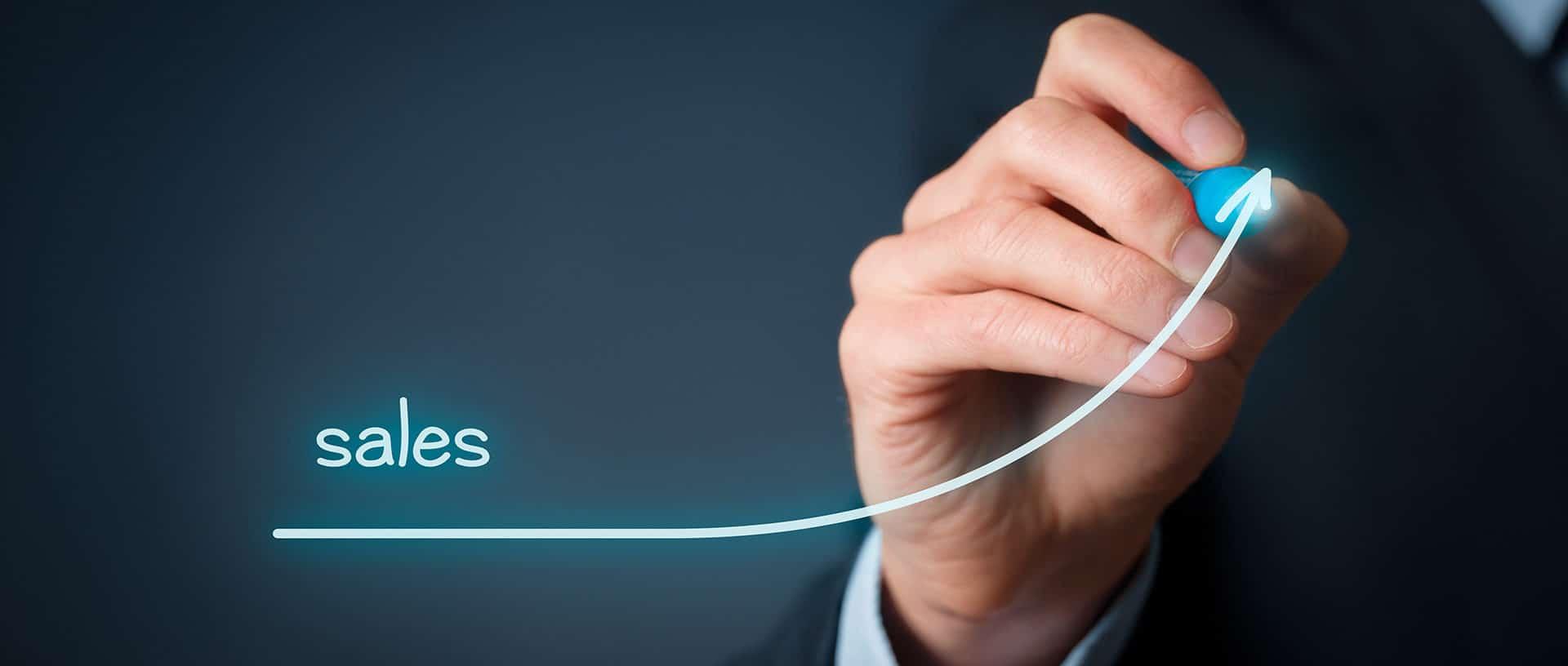 Increase company sales concept. Businessman plan sales growth.